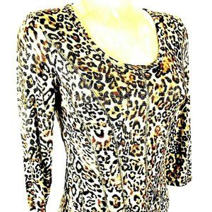Cristina womens S ANIMAL print stretch top (X)E1